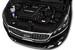 Car stock 2018 KIA Sorento GT Line 5 Door SUV engine high angle detail view