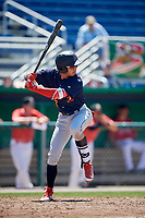 State College Spikes third baseman Edwin Figuera (7) at bat during a game against the Batavia Muckdogs on July 8, 2018 at Dwyer Stadium in Batavia, New York.  Batavia defeated State College 8-3.  (Mike Janes/Four Seam Images)