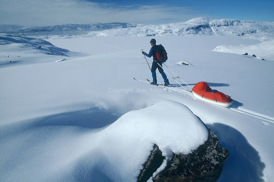 Descente en ski et pulka sur le glacier vers Tiniteqilaq Groënland (côte Est). Région d'Angmagssalik (Ammasalik ou Tassilaq). ski and pulka on the glacier nearby Tiniteqilaq. Greenland (East coast).