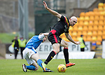 St Johnstone v Partick Thistle…19.08.17… McDiarmid Park… SPFL<br />Conor Sammon and Steven Anderson<br />Picture by Graeme Hart.<br />Copyright Perthshire Picture Agency<br />Tel: 01738 623350  Mobile: 07990 594431