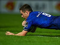 16th November 2020; RDS Arena, Dublin, Leinster, Ireland; Guinness Pro 14 Rugby, Leinster versus Edinburgh; Luke McGrath (Leinster) dives in to score a try