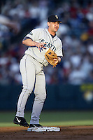 Bret Boone of the Seattle Mariners during a 2002 MLB season game against the Los Angeles Angels at Angel Stadium, in Los Angeles, California. (Larry Goren/Four Seam Images)