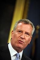 NEW YORK, NY - OCTOBER 23: New York Mayor Bill De Blasio hosts a press conference at the Blue Room in City Hall on October 23, 2015 in New York City.<br /> <br /> <br /> People:  Bill De Blasio
