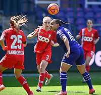 Mariam Abdulai Toloba (19) of Anderlecht pictured in action during a female soccer game between RSC Anderlecht Dames and Standard Femina De Liege on the third matchday of play off 1 of the 2020 - 2021 season of Belgian Womens Super League , saturday 24 th of April 2021  in Brussels , Belgium . PHOTO SPORTPIX.BE | SPP | DAVID CATRY