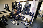 Stockport Pre-Season Training, 09/07/2008. Manor Farm, Timperley, League One. Stockport County manager Jim Gannon trying on a new pair of boots before a pre-season training session at the club's training ground at Manor Farm, Timperley, Cheshire. Stockport County were promoted up to league One following a play-off final victory over Rochdale at Wembley in May, 2008. Jim Gannon took over as manager of the club in 2006 and lead them to promotion after three seasons in League Two. Photo by Colin McPherson.