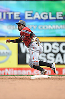 Altoona Curve infielder Gilft Ngoepe (10) during game against the Trenton Thunder at ARM & HAMMER Park on August 6, 2014 in Trenton, NJ.  Trenton defeated Altoona 7-3.  (Tomasso DeRosa/Four Seam Images)