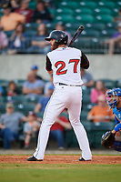 Arkansas Travelers first baseman Kyle Petty (27) at bat during a game against the Midland RockHounds on May 25, 2017 at Dickey-Stephens Park in Little Rock, Arkansas.  Midland defeated Arkansas 8-1.  (Mike Janes/Four Seam Images)