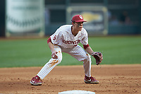 Oklahoma Sooners third baseman Peyton Graham (20) on defense against the Arkansas Razorbacks in game two of the 2020 Shriners Hospitals for Children College Classic at Minute Maid Park on February 28, 2020 in Houston, Texas. The Sooners defeated the Razorbacks 6-3. (Brian Westerholt/Four Seam Images)