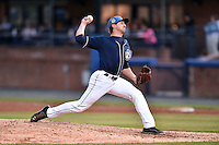 Asheville Tourists pitcher Josh Michalec (17) delivers a pitch during game one of a double header against the Greenville Drive on April 18, 2015 in Asheville, North Carolina. The Tourists defeated the Drive 2-1. (Tony Farlow/Four Seam Images)