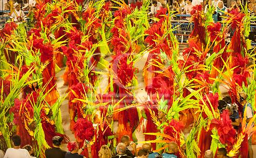 Imperatriz Leopolinense Samba School, Carnival, Rio de Janeiro, Brazil, 26th February 2017. Samba dancers dressed in flames to represent the destruction of the forest by the invading white men.