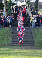 Saturday 4th February 2017 | RBAI vs BALLYCLARE HIGH SCHOOL<br /> <br /> Ballyclare captain Jake McVicker leads he team onto the Cranmore pitch during the Ulster Schools' Cup clash between RBAI and Ballyclare High School at  Cranmore Park, Belfast, Northern Ireland.<br /> <br /> Photograph by www.dicksondigital.com