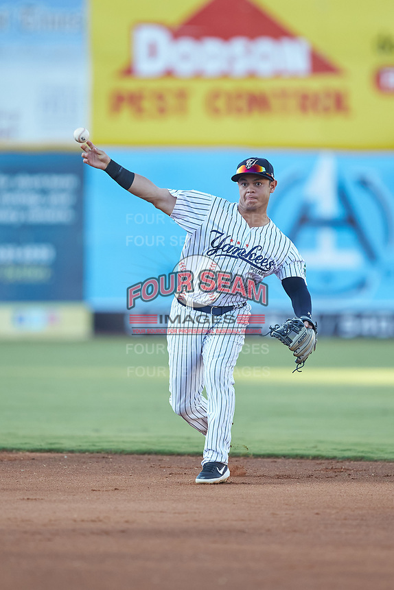 Pulaski Yankees second baseman Luis Santos (13) makes a throw to first base against the Burlington Royals at Calfee Park on August 31, 2019 in Pulaski, Virginia. The Yankees defeated the Royals 6-0. (Brian Westerholt/Four Seam Images)