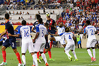 Harrison, NJ - Friday July 07, 2017: Francisco Calvo, Maynor Figueroa during a 2017 CONCACAF Gold Cup Group A match between the men's national teams of Honduras (HON) vs Costa Rica (CRC) at Red Bull Arena.