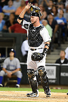 Chicago White Sox catcher Tyler Flowers (21) during a game against the Toronto Blue Jays on August 15, 2014 at U.S. Cellular Field in Chicago, Illinois.  Chicago defeated Toronto 11-5.  (Mike Janes/Four Seam Images)