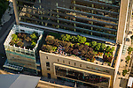 Aerial view of the lower OHSU building's greenroof and landscaping in Portland, Oregon.