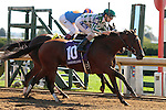 LEXINGTON, KY - OCTOBER 12: #10 Romantic Vision and jockey Channing Hill win the 6th race, Allowance Optional Claiming $62,500 for owner G Watts Humphrey Jr. and trainer George Arnold at Keeneland Race Course.  October 12, 2016, Lexington, Kentucky. (Photo by Candice Chavez/Eclipse Sportswire/Getty Images)