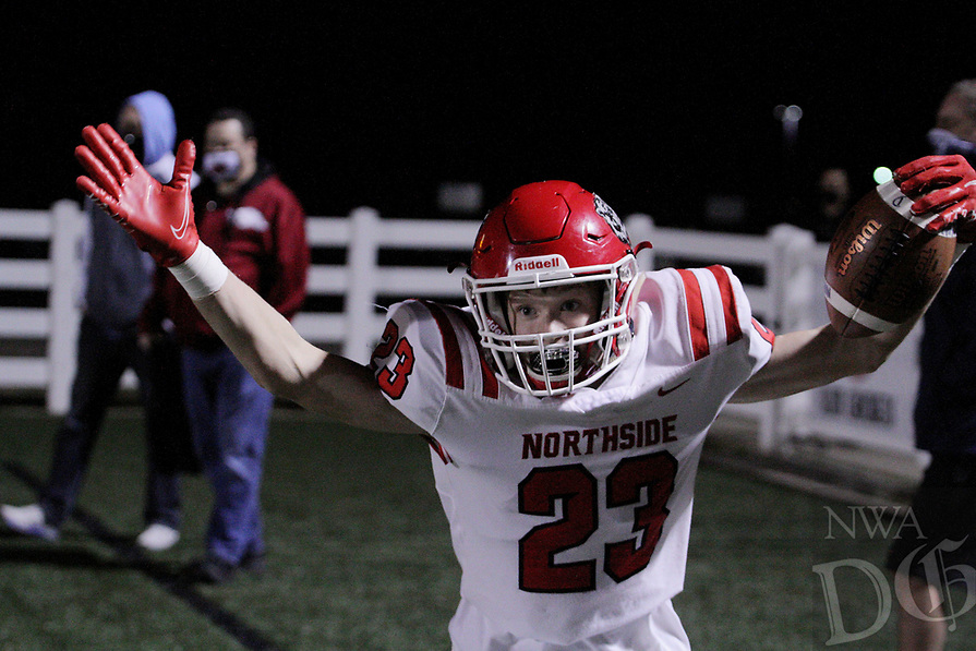 Fort Smith Northside Grizzlies Junior Joseph Maffei (23) celebrates after catching a touchdown pass during the first round play-off game against the Har-Ber Wildcats Friday, November 13, 2020, at Wildcat Stadium, Springdale, Arkansas (Special to NWA Democrat-Gazette/Brent Soule)