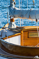 Wood sailboat detail.