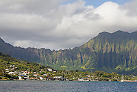 Kaneohe Bay seen from the sea, windward Oahu, Hawaii
