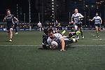 Samurai International (in white) plays against KIR Club Pyrenees (in black) during GFI HKFC Rugby Tens 2016 on 06 April 2016 at Hong Kong Football Club in Hong Kong, China. Photo by Juan Manuel Serrano / Power Sport Images