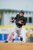 Akron RubberDucks shortstop Yu-Cheng Chang (6) running the bases during a game against the Binghamton Rumble Ponies on May 12, 2017 at NYSEG Stadium in Binghamton, New York.  Akron defeated Binghamton 5-1.  (Mike Janes/Four Seam Images)