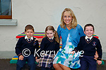 Maire Collins Principal of Knocknagoshel NS with junior infants  with  Liam, Ava and Marcus on Tuesday (school has a first name only policy)