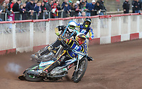 Heat 14 Re-run: Matt Bates (white), Nick Laurence (blue) and Tom Brennan (yellow)<br /> <br /> Photographer Rob Newell/CameraSport<br /> <br /> National League Speedway - Lakeside Hammers v Eastbourne Eagles - Lee Richardson Memorial Trophy, First Leg - Friday 14th April 2017 - The Arena Essex Raceway - Thurrock, Essex<br /> © CameraSport - 43 Linden Ave. Countesthorpe. Leicester. England. LE8 5PG - Tel: +44 (0) 116 277 4147 - admin@camerasport.com - www.camerasport.com