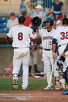 Mahoning Valley Scrappers Pedro Alfonseca (27) congratulates Henry Pujols (8) after a home run during a NY-Penn League game against the Hudson Valley Renegades on July 15, 2019 at Eastwood Field in Niles, Ohio.  Mahoning Valley defeated Hudson Valley 6-5.  (Mike Janes/Four Seam Images)