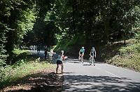 Alejandro Valverde (ESP/Movistar) & Fabio Arru (ITA/Astana) leading the race towards the foot of the final climb of the day: the Plateau de Solaison (HC/1508m/11.3km @9.2%) <br /> <br /> 69th Critérium du Dauphiné 2017<br /> Stage 8: Albertville > Plateau de Solaison (115km)