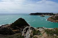 Blick vom Noirmont Point nach Westen auf Portelet Bay, Insel Jersey, Kanalinseln