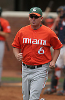 Gino DiMare of the Miami Hurricanes vs. the Virginia Cavaliers: March 24th, 2007 at Davenport Field in Charlottesville, VA.  Photo by:  Mike Janes/Four Seam Images
