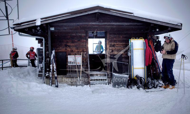 Challenge Mer et Montagne 2012, Saint Gervais les Bains, Mont Blanc, Haute Savoie, France..Ski Super Geant..Gildas Morvan