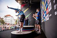 Bronze medalist Remco Evenepoel (BEL/Deceuninck-Quickstep) receiving a massive corwd roar on the posium<br /> <br /> Men Elite Individual Time Trial <br /> from Knokke-Heist to Bruges (43.3 km)<br /> <br /> UCI Road World Championships - Flanders Belgium 2021<br /> <br /> ©kramon