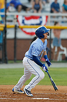 Burlington Royals third baseman Bhret Bewley (15) at bat during a game against the Kingsport Mets at Burlington Athletic Complex on July 28, 2018 in Burlington, North Carolina. Burlington defeated Kingsport 4-3. (Robert Gurganus/Four Seam Images)