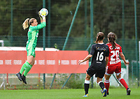 goalkeeper Hillary Damman (1) of Standard makes a save during a female soccer game between Standard Femina de Liege and Eendracht Aalst dames on the fourth matchday in the 2021 - 2022 season of the Belgian Scooore Womens Super League , Saturday 11 th of September 2021  in Angleur , Belgium . PHOTO SPORTPIX   BERNARD GILLET