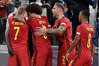 Romelu Lukaku of Belgium celebrates after the goal of 2-0 during the Uefa Nations League semi-final football match between Belgium and France at Juventus stadium in Torino (Italy), October 7th, 2021. Photo Andrea Staccioli / Insidefoto
