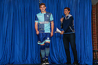 Wycombe Wanderers recent signing, Dayle Southwell, enters the cat walk wearing the club's new home kit during the 2016/17 Kit Launch of Wycombe Wanderers to the public at Adams Park, High Wycombe, England on 10 July 2016. Photo by David Horn.