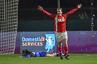 Standard forward Sanne Schoenmakers (8) scores 0-2 and Standard celebrates during a female soccer game between  AA Gent Ladies and Standard Femina de Liege on the 8 th matchday of the 2020 - 2021 season of Belgian Scooore Womens Super League , friday 20 th of November 2020  in Oostakker , Belgium . PHOTO SPORTPIX.BE   SPP   STIJN AUDOOREN