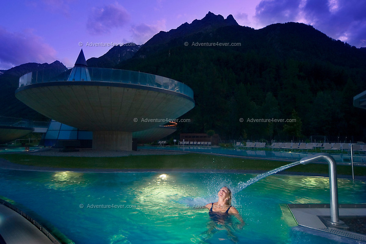 Laengenfeld, Oetztal, Tyrol, Austria, August 2009. Wellness and relaxation in the Aqua Dome Spa. A valley full of opposites, between action and relaxation. Lush green meadows and mighty rocks. White waters and eternal ice. Photo by Frits Meyst/Adventure4ever.com