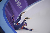 OLYMPIC GAMES: PYEONGCHANG: 12-02-2018, Gangneung Oval, Long Track, 1500m Ladies, fall Yu-Ting Huang (TPE), ©photo Martin de Jong