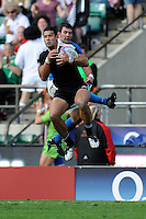 Solomon King of New Zealand beats Gaston Revol of Argentina in the re-start during the iRB Marriott London Sevens at Twickenham on Sunday 13th May 2012 (Photo by Rob Munro)