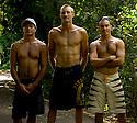 Hawaiians Braden Dias, Flynt Novak and Jmie Sterling on the Northshore of Hawaii.