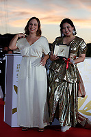CANNES, FRANCE - JULY 17: Jasmin Tenucci and Tang Yi pose with the Best Short Movie Award for 'Ceu de Agosto' and 'Tous les corbeaux du monde' during the 74th annual Cannes Film Festival on July 17, 2021 in Cannes, France. <br /> CAP/GOL<br /> ©GOL/Capital Pictures