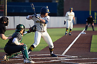 Michigan Wolverines pinch hitter Logan Pollock (45) at bat in the ninth against the Michigan State Spartans on March 21, 2021 in NCAA baseball action at Ray Fisher Stadium in Ann Arbor, Michigan. Michigan scored 8 runs in the bottom of the ninth inning to defeat the Spartans 8-7. (Andrew Woolley/Four Seam Images)