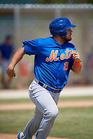 New York Mets Brandon Brosher (21) runs to first base during a minor league Spring Training game against the St. Louis Cardinals on March 28, 2017 at the Roger Dean Stadium Complex in Jupiter, Florida.  (Mike Janes/Four Seam Images)