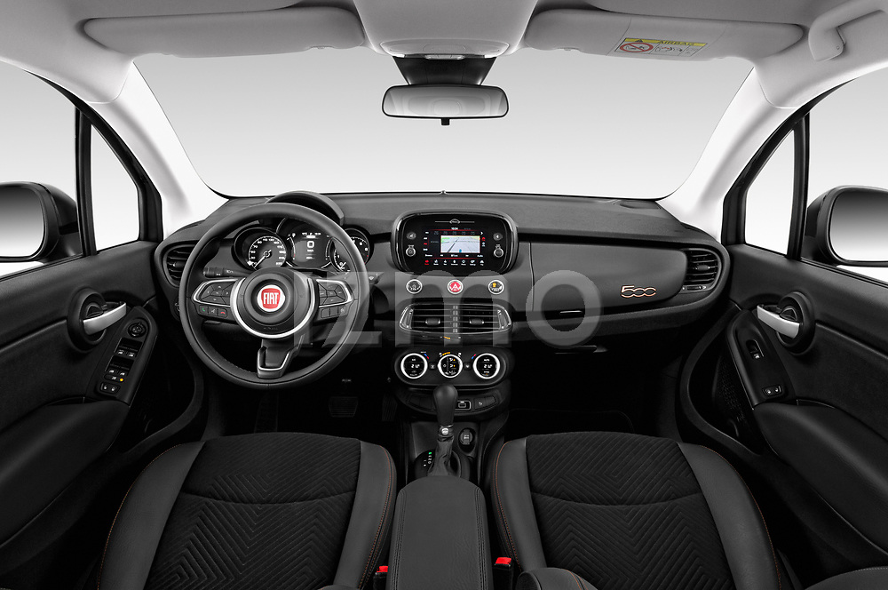 Stock photo of straight dashboard view of 2019 Fiat 500X Cross-S-Design 5 Door SUV Dashboard