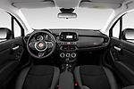 Stock photo of straight dashboard view of 2019 Fiat 500X Cross-S-Design 5 Door SUV Dashboard