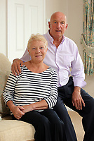 Pictured: Billy McCarley with wife Kath at their home in the Mayals area of Swansea, Wales, UK. Tuesday 04 April 2017<br /> Re: Billy McCarley who has recovered from  leukemia but he has also been locked in a bitter dispute with his phone provider True Telecom which keeps chasing him for money they say he owes.
