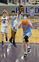 Fort Smith Southside's Tristan Lane (23) prepares to shoot in the lane Tuesday, Jan. 12, 2021, as Fayetteville's CJ Williams reaches to block during the first half of play in Bulldog Arena. Visit nwaonline.com/210113Daily/ for today's photo gallery. <br /> (NWA Democrat-Gazette/Andy Shupe)