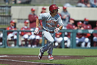 Cameron Leary (47) of the Boston College Eagles hustles down the first base line against the Virginia Tech Hokies at English Field on April 3, 2021 in Blacksburg, Virginia. (Brian Westerholt/Four Seam Images)